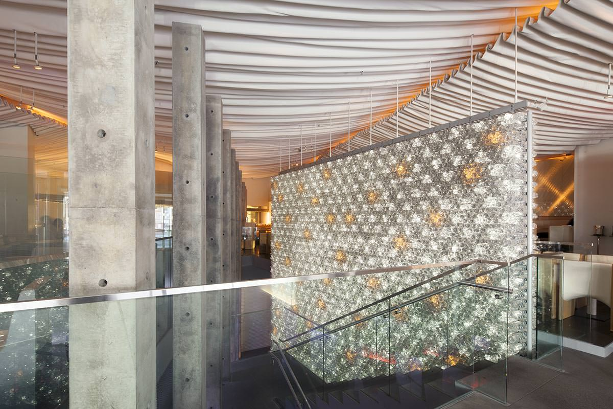 Wall Design Build Inc : Morimoto restaurant bottle wall front inc