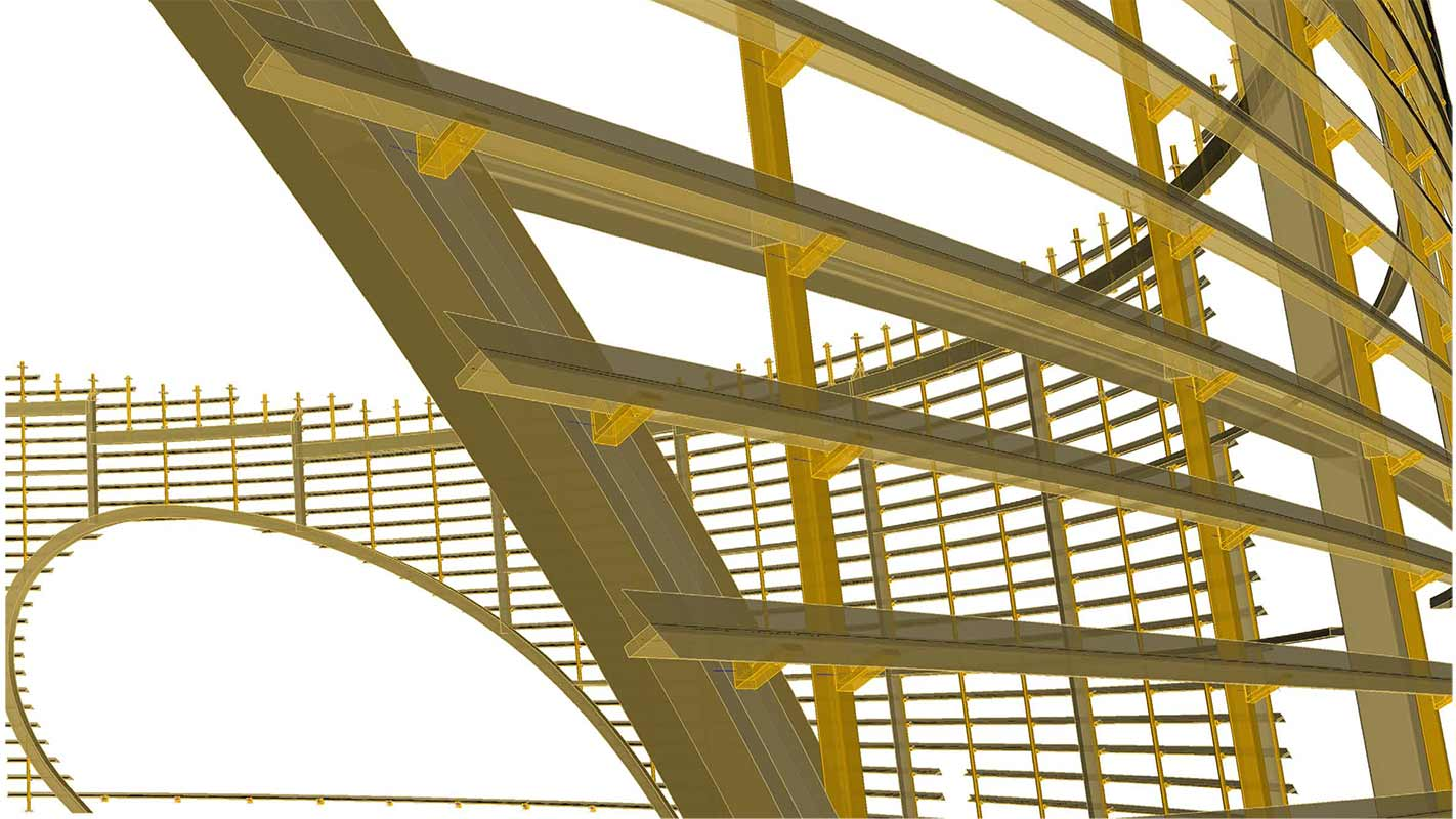BIM model view of steel sub-structure for louvers