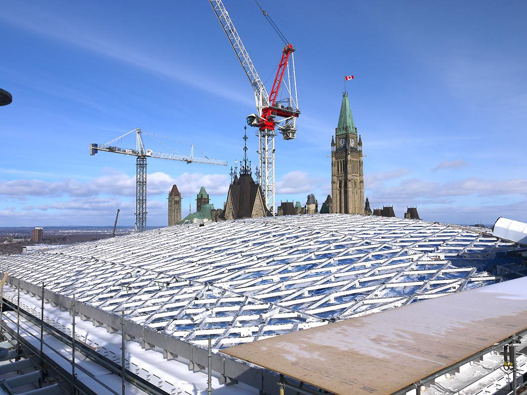 Canadian Broadcasting Corporation Airs Video of 1st Glass Panel Installed at West Block