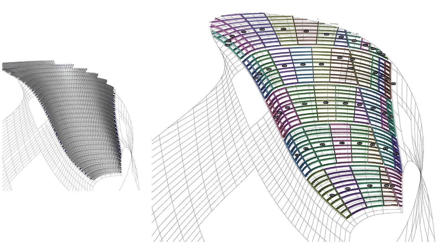 BIM model view of garden facade steel sub-structure]